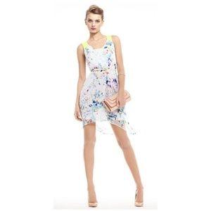 EXPRESS Neon Print Twist-Back Hi-Lo Dress w/Tie B2